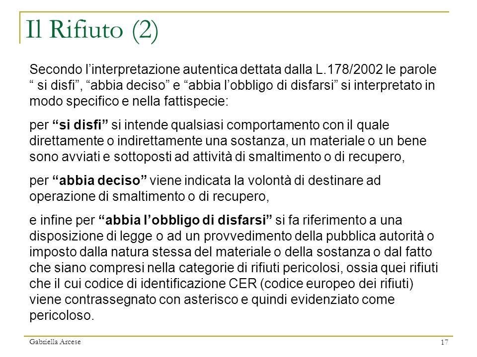 Gabriella Arcese 17 Secondo linterpretazione autentica dettata dalla L.178/2002 le parole si disfi, abbia deciso e abbia lobbligo di disfarsi si inter