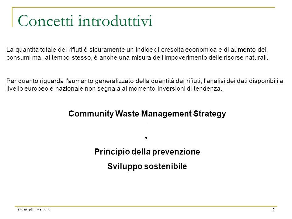 2 Concetti introduttivi La quantità totale dei rifiuti è sicuramente un indice di crescita economica e di aumento dei consumi ma, al tempo stesso, è a