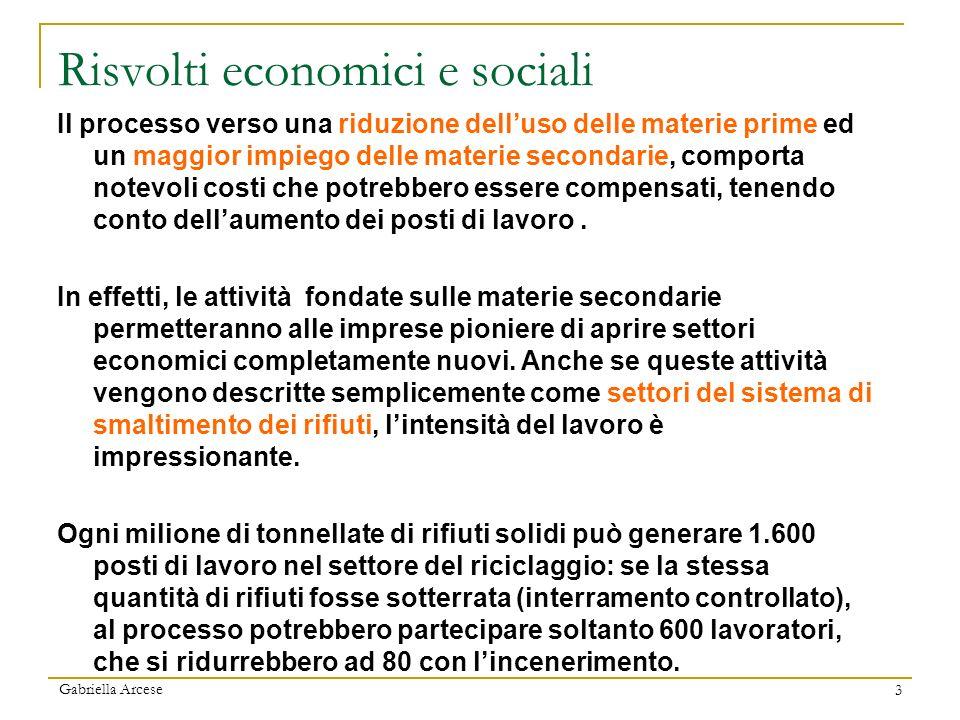 Gabriella Arcese 3 Risvolti economici e sociali Il processo verso una riduzione delluso delle materie prime ed un maggior impiego delle materie second