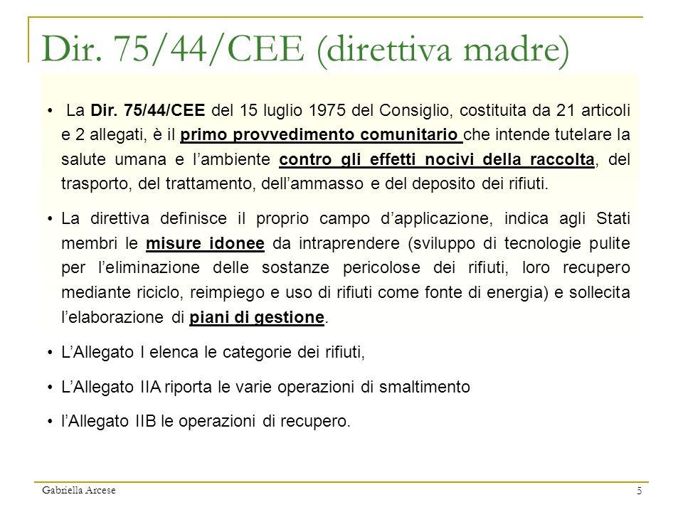 Gabriella Arcese 5 Dir. 75/44/CEE (direttiva madre) La Dir. 75/44/CEE del 15 luglio 1975 del Consiglio, costituita da 21 articoli e 2 allegati, è il p