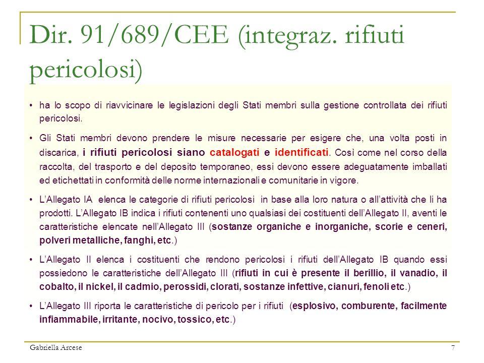 Gabriella Arcese 7 Dir. 91/689/CEE (integraz. rifiuti pericolosi) ha lo scopo di riavvicinare le legislazioni degli Stati membri sulla gestione contro