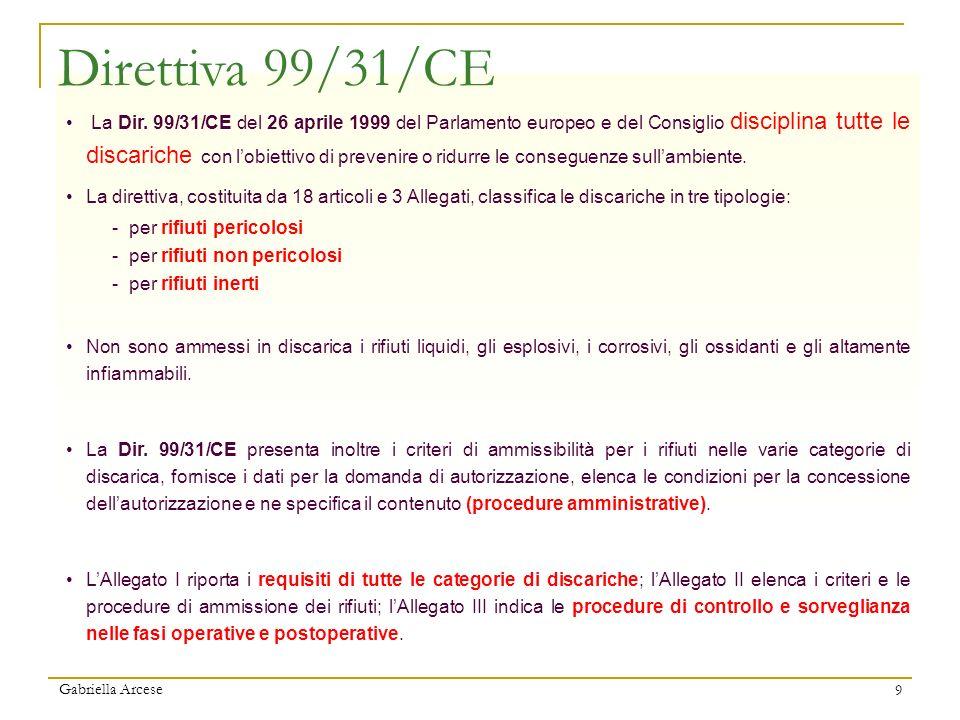 Gabriella Arcese 9 La Dir. 99/31/CE del 26 aprile 1999 del Parlamento europeo e del Consiglio disciplina tutte le discariche con lobiettivo di preveni
