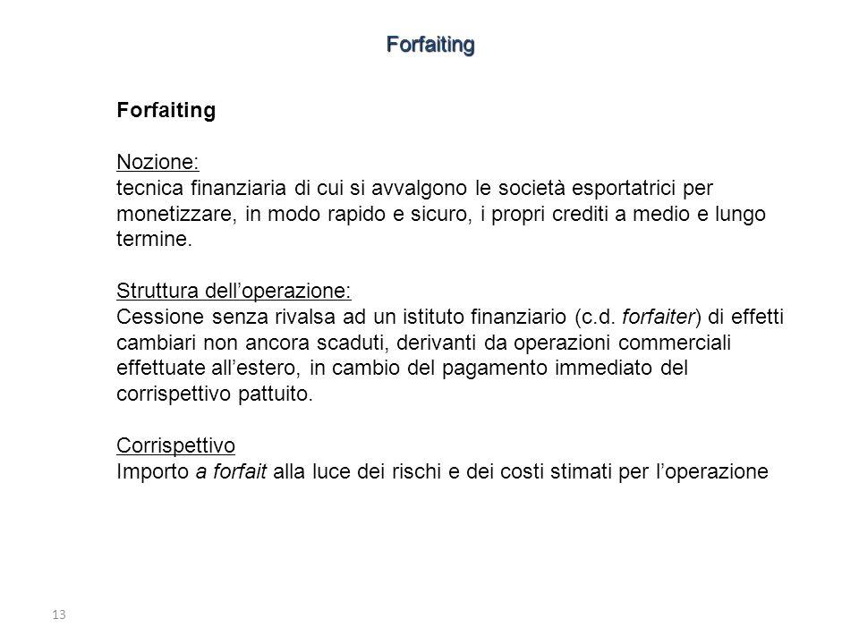 13 Forfaiting Nozione: tecnica finanziaria di cui si avvalgono le società esportatrici per monetizzare, in modo rapido e sicuro, i propri crediti a me