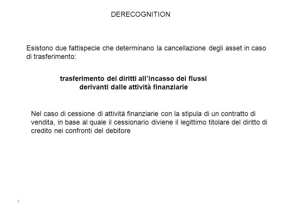 3 Esistono due fattispecie che determinano la cancellazione degli asset in caso di trasferimento: trasferimento dei diritti allincasso dei flussi deri