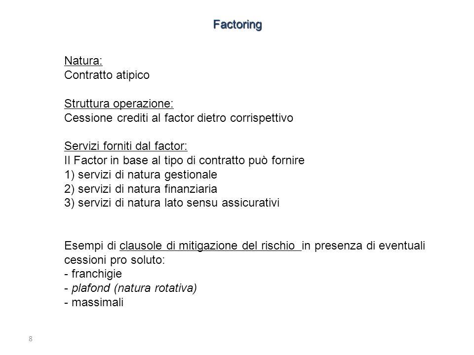 8 Natura: Contratto atipico Struttura operazione: Cessione crediti al factor dietro corrispettivo Servizi forniti dal factor: Il Factor in base al tip