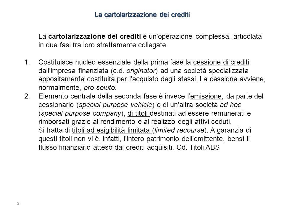 9 La cartolarizzazione dei crediti è unoperazione complessa, articolata in due fasi tra loro strettamente collegate. 1.Costituisce nucleo essenziale d