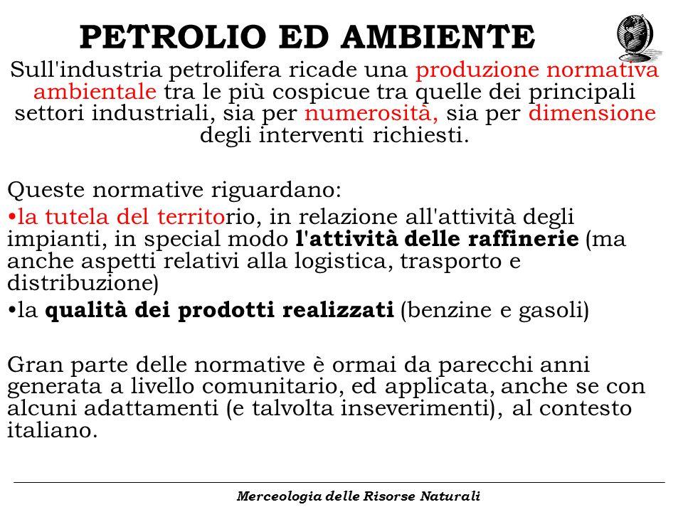 PETROLIO ED AMBIENTE Merceologia delle Risorse Naturali Sull'industria petrolifera ricade una produzione normativa ambientale tra le più cospicue tra