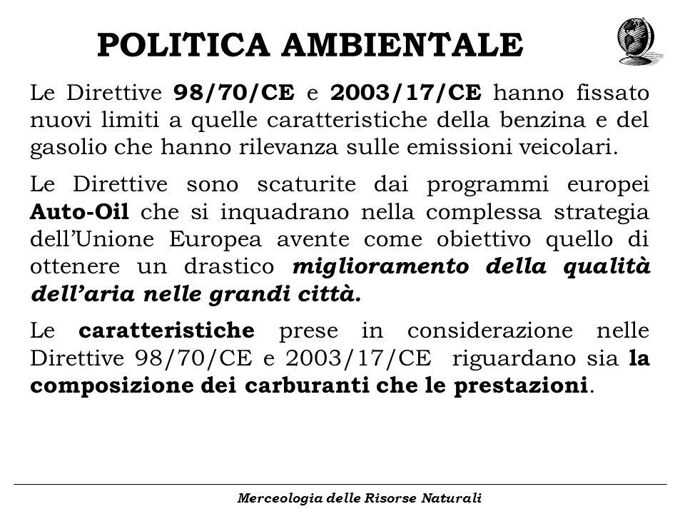 POLITICA AMBIENTALE Merceologia delle Risorse Naturali Le Direttive 98/70/CE e 2003/17/CE hanno fissato nuovi limiti a quelle caratteristiche della be