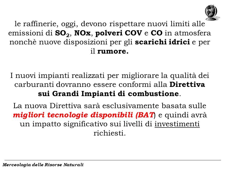 Merceologia delle Risorse Naturali le raffinerie, oggi, devono rispettare nuovi limiti alle emissioni di SO 2, NOx, polveri COV e CO in atmosfera nonc