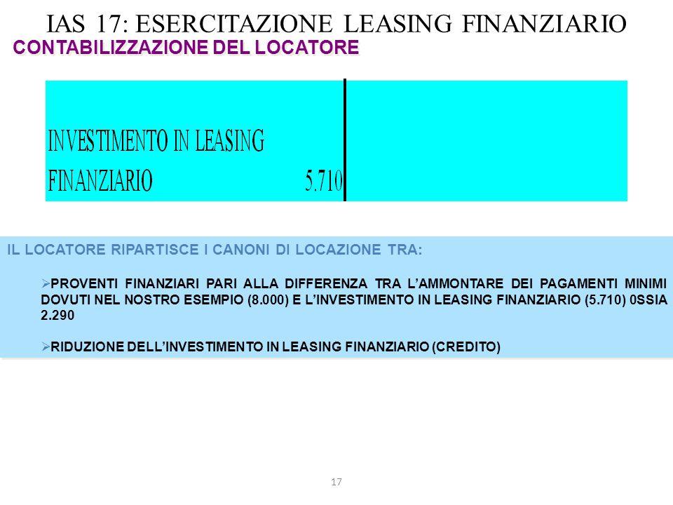 17 IAS 17: ESERCITAZIONE LEASING FINANZIARIO CONTABILIZZAZIONE DEL LOCATORE IL LOCATORE RIPARTISCE I CANONI DI LOCAZIONE TRA: PROVENTI FINANZIARI PARI