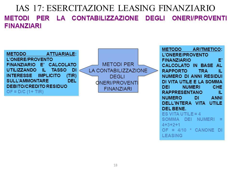 18 IAS 17: ESERCITAZIONE LEASING FINANZIARIO METODI PER LA CONTABILIZZAZIONE DEGLI ONERI/PROVENTI FINANZIARI METODI PER LA CONTABILIZZAZIONE DEGLI ONE