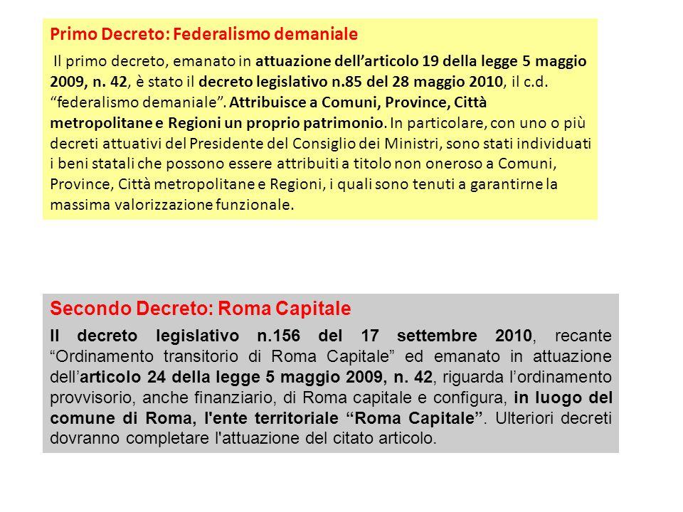 Primo Decreto: Federalismo demaniale Il primo decreto, emanato in attuazione dellarticolo 19 della legge 5 maggio 2009, n.