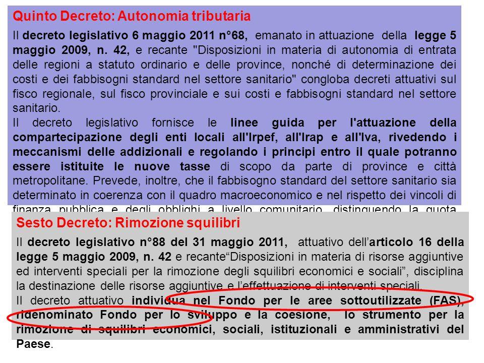 Quinto Decreto: Autonomia tributaria Il decreto legislativo 6 maggio 2011 n°68, emanato in attuazione della legge 5 maggio 2009, n.