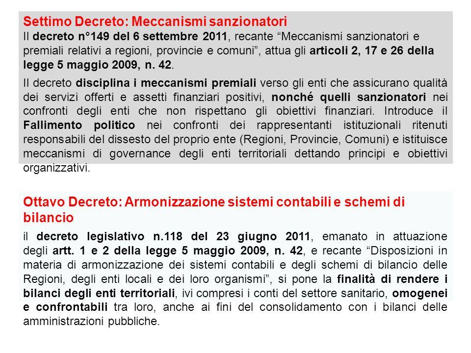 Settimo Decreto: Meccanismi sanzionatori Il decreto n°149 del 6 settembre 2011, recante Meccanismi sanzionatori e premiali relativi a regioni, provincie e comuni, attua gli articoli 2, 17 e 26 della legge 5 maggio 2009, n.
