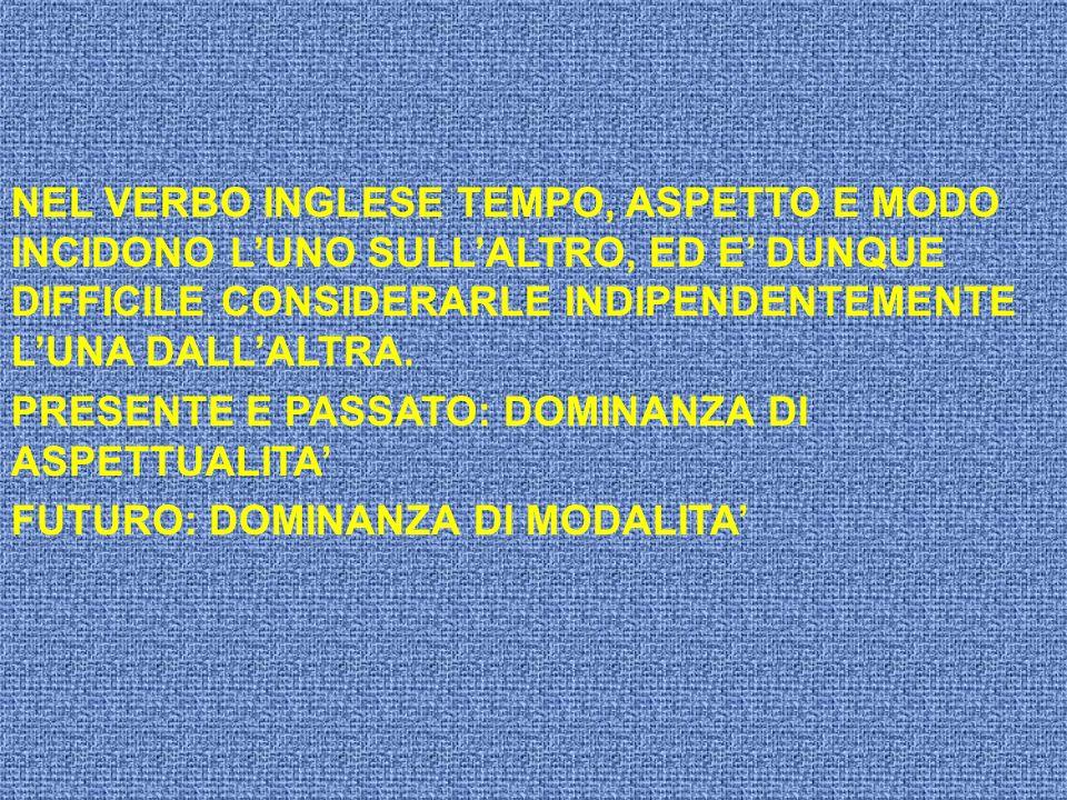 NEL VERBO INGLESE TEMPO, ASPETTO E MODO INCIDONO LUNO SULLALTRO, ED E DUNQUE DIFFICILE CONSIDERARLE INDIPENDENTEMENTE LUNA DALLALTRA. PRESENTE E PASSA