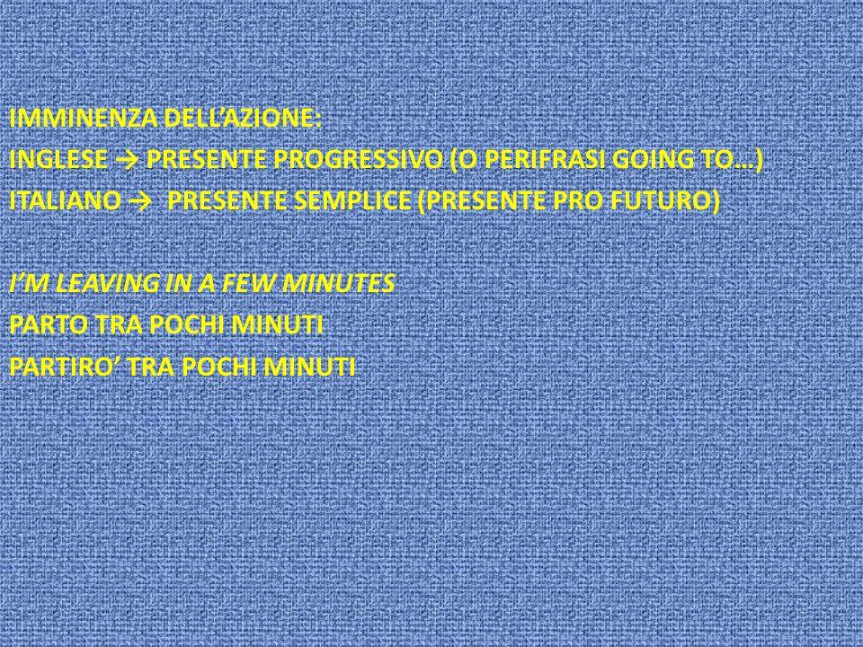 IMMINENZA DELLAZIONE: INGLESE PRESENTE PROGRESSIVO (O PERIFRASI GOING TO…) ITALIANO PRESENTE SEMPLICE (PRESENTE PRO FUTURO) IM LEAVING IN A FEW MINUTE