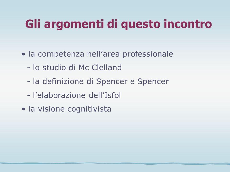 Gli argomenti di questo incontro la competenza nellarea professionale - lo studio di Mc Clelland - la definizione di Spencer e Spencer - lelaborazione