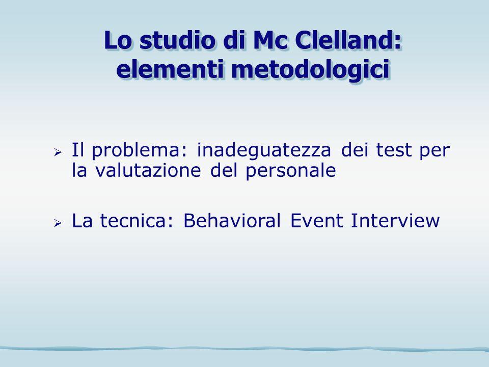 Lo studio di Mc Clelland: elementi metodologici Il problema: inadeguatezza dei test per la valutazione del personale La tecnica: Behavioral Event Inte