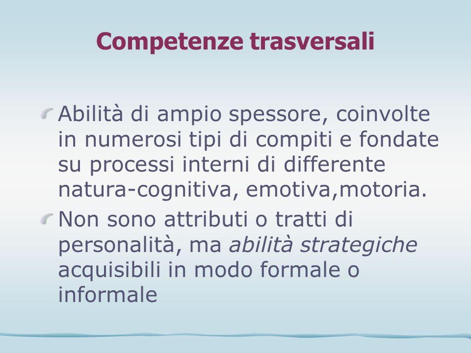Competenze trasversali Abilità di ampio spessore, coinvolte in numerosi tipi di compiti e fondate su processi interni di differente natura-cognitiva,