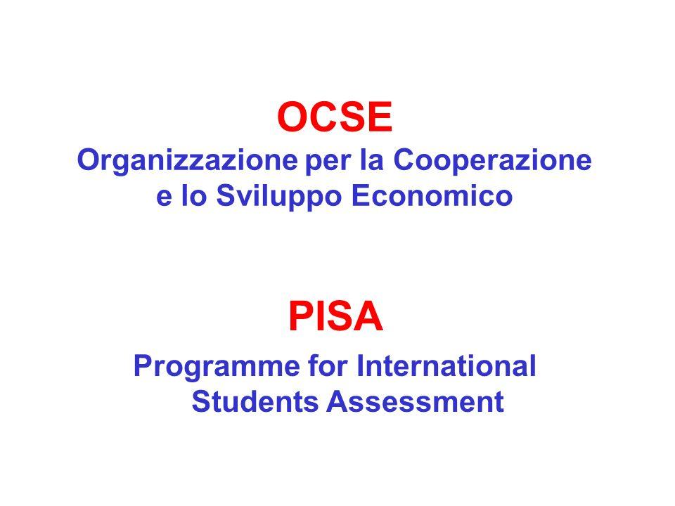OCSE Organizzazione per la Cooperazione e lo Sviluppo Economico PISA Programme for International Students Assessment