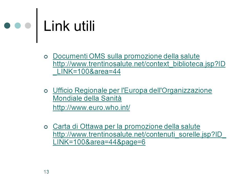 13 Link utili Documenti OMS sulla promozione della salute http://www.trentinosalute.net/context_biblioteca.jsp?ID _LINK=100&area=44 Documenti OMS sull