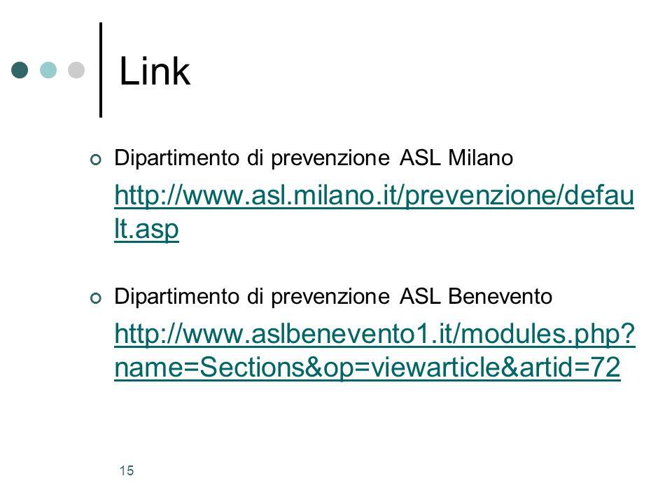 15 Link Dipartimento di prevenzione ASL Milano http://www.asl.milano.it/prevenzione/defau lt.asp Dipartimento di prevenzione ASL Benevento http://www.