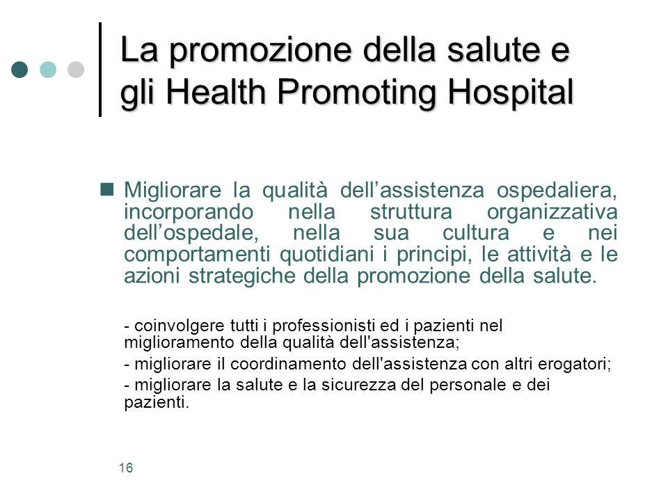 16 La promozione della salute e gli Health Promoting Hospital nMigliorare la qualità dellassistenza ospedaliera, incorporando nella struttura organizz
