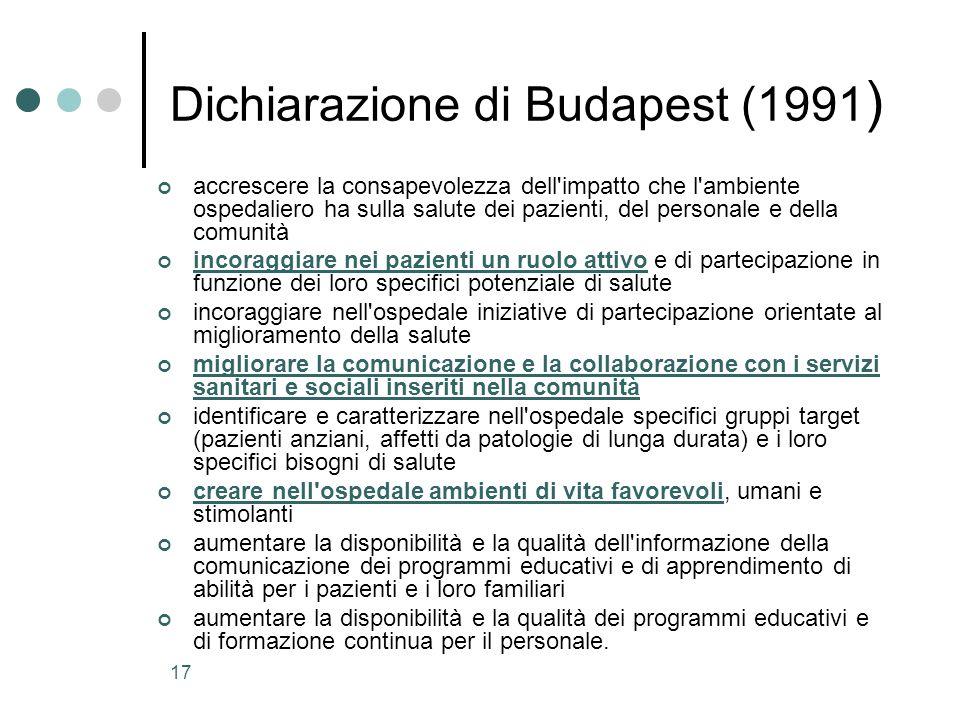 17 Dichiarazione di Budapest (1991 ) accrescere la consapevolezza dell'impatto che l'ambiente ospedaliero ha sulla salute dei pazienti, del personale