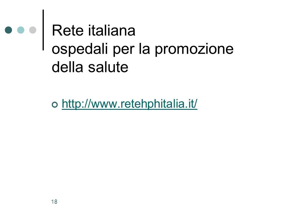 18 Rete italiana ospedali per la promozione della salute http://www.retehphitalia.it/