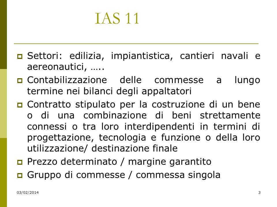 03/02/20143 IAS 11 Settori: edilizia, impiantistica, cantieri navali e aereonautici, …..