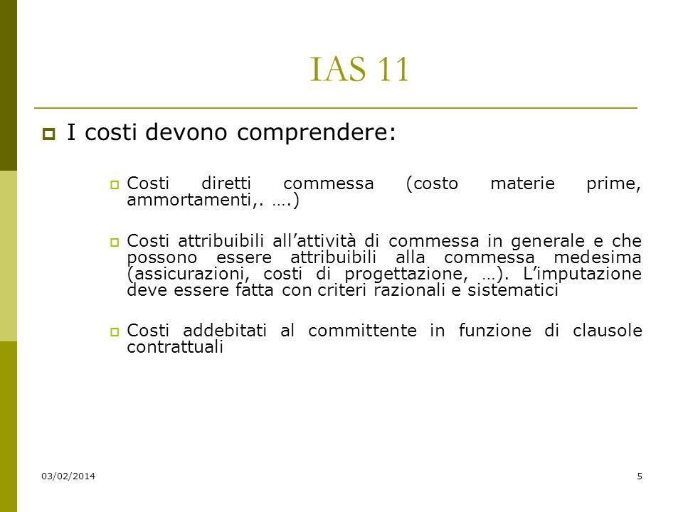 03/02/20145 IAS 11 I costi devono comprendere: Costi diretti commessa (costo materie prime, ammortamenti,.