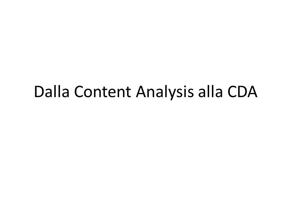 Dalla Content Analysis alla CDA
