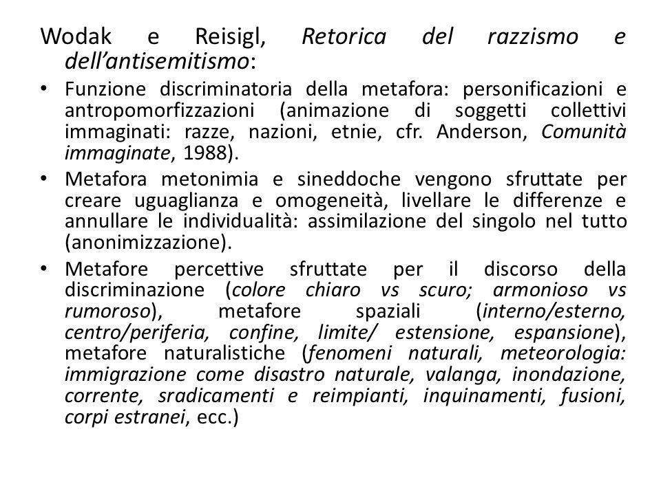 Wodak e Reisigl, Retorica del razzismo e dellantisemitismo: Funzione discriminatoria della metafora: personificazioni e antropomorfizzazioni (animazio