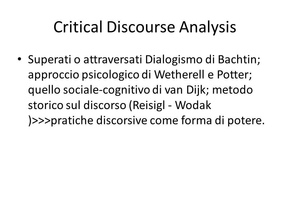 Critical Discourse Analysis Superati o attraversati Dialogismo di Bachtin; approccio psicologico di Wetherell e Potter; quello sociale-cognitivo di va