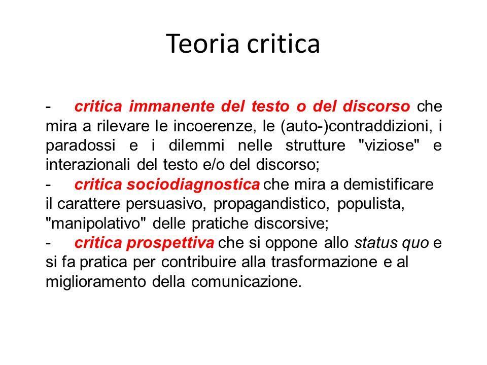 Teoria critica -critica immanente del testo o del discorso che mira a rilevare le incoerenze, le (auto-)contraddizioni, i paradossi e i dilemmi nelle