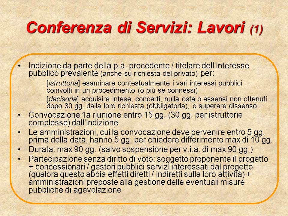 Conferenza di Servizi: Lavori (1) Indizione da parte della p.a. procedente / titolare dellinteresse pubblico prevalente (anche su richiesta del privat