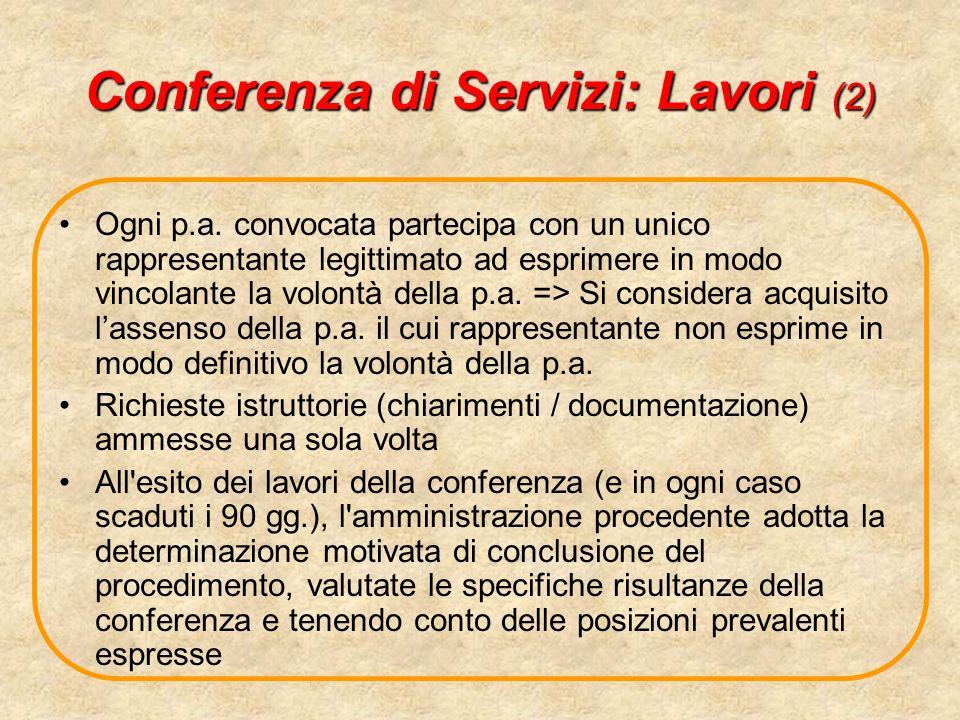 Conferenza di Servizi: Lavori (2) Ogni p.a. convocata partecipa con un unico rappresentante legittimato ad esprimere in modo vincolante la volontà del