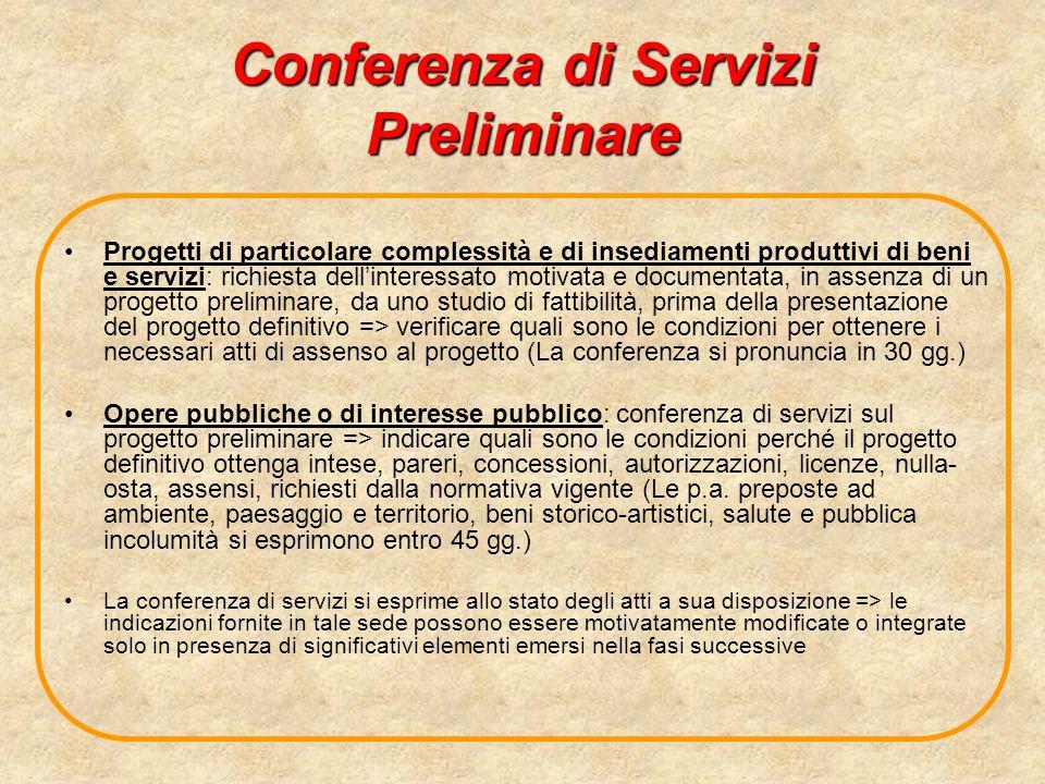 Conferenza di Servizi Preliminare Progetti di particolare complessità e di insediamenti produttivi di beni e servizi: richiesta dellinteressato motiva