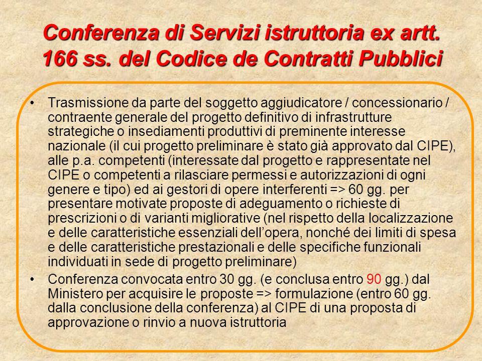 Conferenza di Servizi istruttoria ex artt. 166 ss. del Codice de Contratti Pubblici Trasmissione da parte del soggetto aggiudicatore / concessionario