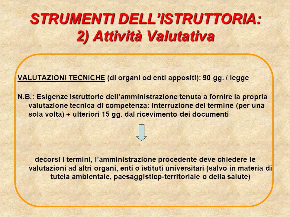 STRUMENTI DELLISTRUTTORIA: 2) Attività Valutativa VALUTAZIONI TECNICHE (di organi od enti appositi): 90 gg. / legge N.B.: Esigenze istruttorie dellamm