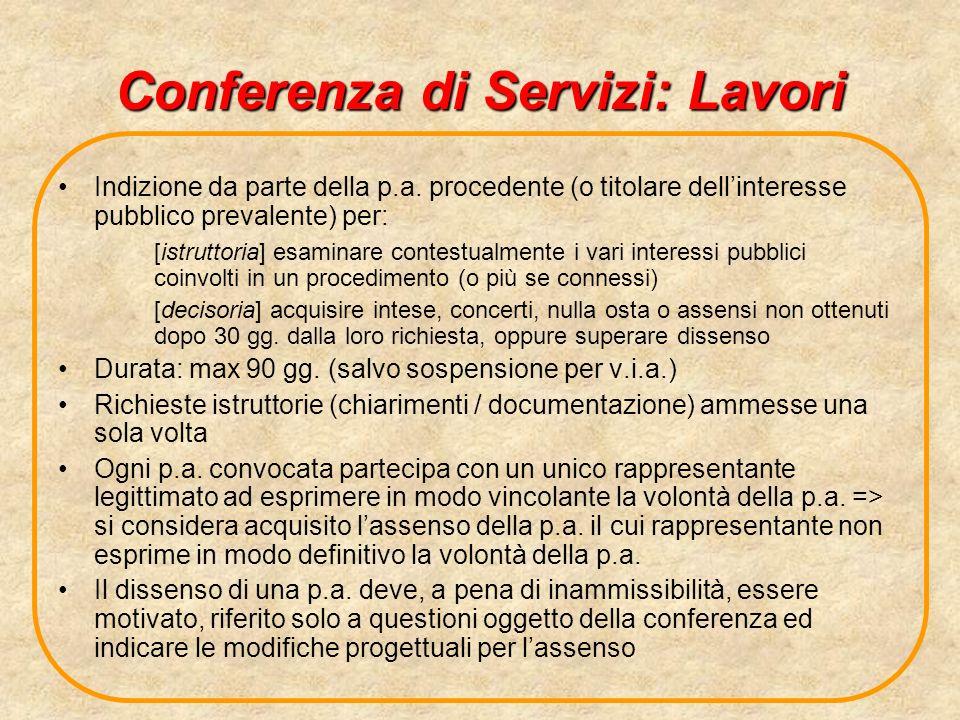 Conferenza di Servizi: Lavori Indizione da parte della p.a. procedente (o titolare dellinteresse pubblico prevalente) per: [istruttoria] esaminare con