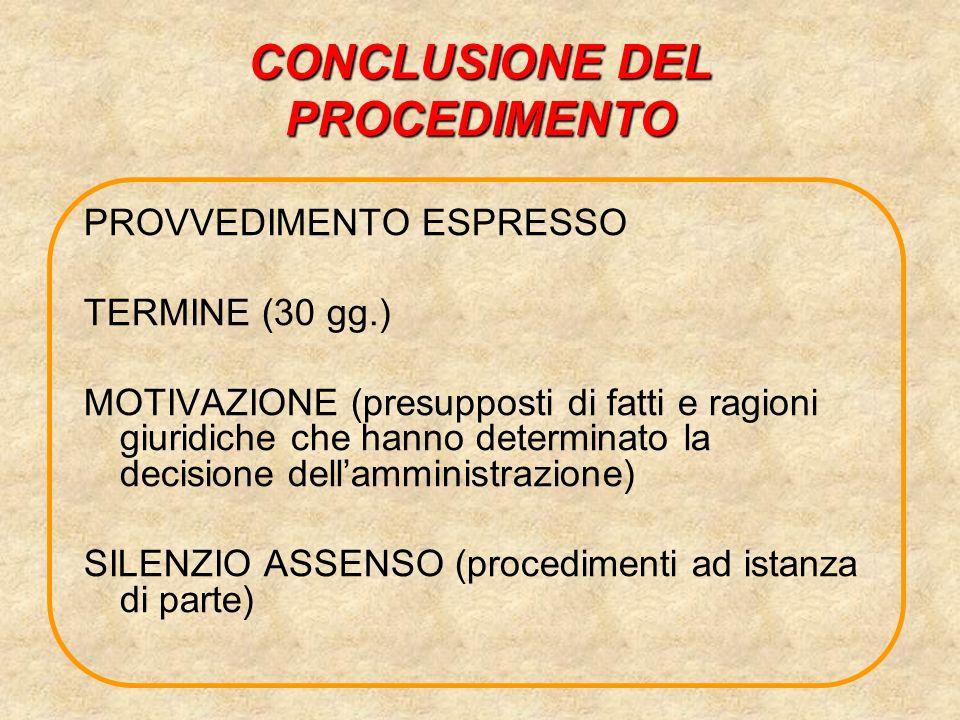 CONCLUSIONE DEL PROCEDIMENTO PROVVEDIMENTO ESPRESSO TERMINE (30 gg.) MOTIVAZIONE (presupposti di fatti e ragioni giuridiche che hanno determinato la d