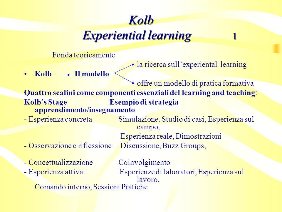 Fonda teoricamente la ricerca sullexperiental learning Kolb Il modello offre un modello di pratica formativa Quattro scalini come componenti essenzial