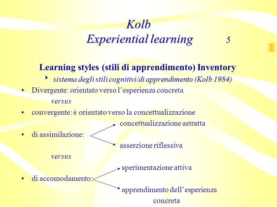 Learning styles (stili di apprendimento) Inventory sistema degli stili cognitivi/di apprendimento (Kolb 1984) sistema degli stili cognitivi/di apprend