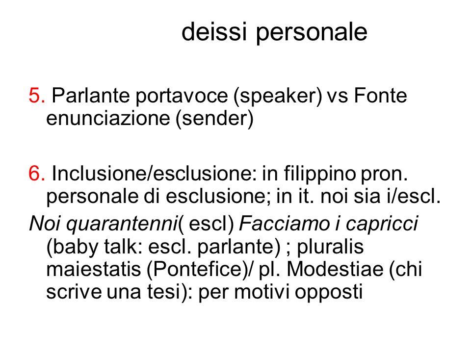 deissi personale 5. Parlante portavoce (speaker) vs Fonte enunciazione (sender) 6. Inclusione/esclusione: in filippino pron. personale di esclusione;