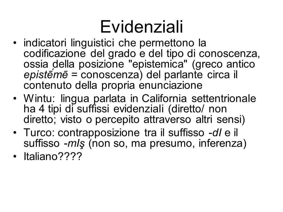 Evidenziali indicatori linguistici che permettono la codificazione del grado e del tipo di conoscenza, ossia della posizione