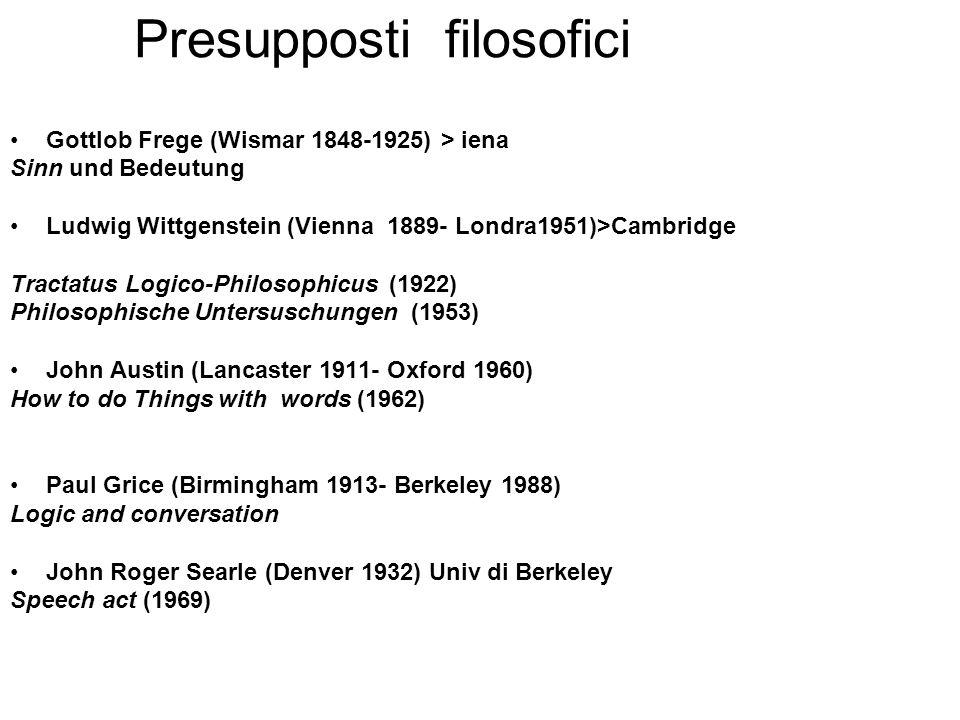 Presupposti filosofici Gottlob Frege (Wismar 1848-1925) > iena Sinn und Bedeutung Ludwig Wittgenstein (Vienna 1889- Londra1951)>Cambridge Tractatus Lo