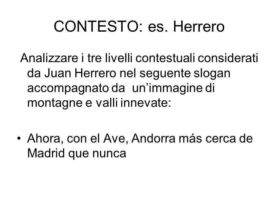 CONTESTO: es. Herrero Analizzare i tre livelli contestuali considerati da Juan Herrero nel seguente slogan accompagnato da unimmagine di montagne e va