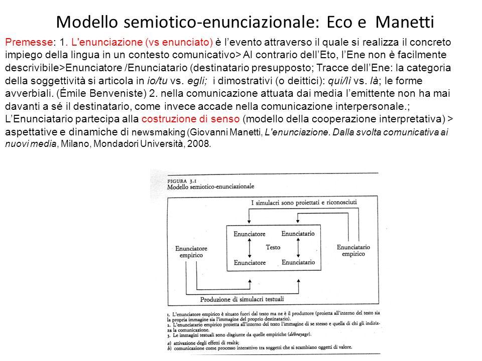 Modello semiotico-enunciazionale: Eco e Manetti Premesse: 1. L'enunciazione (vs enunciato) è levento attraverso il quale si realizza il concreto impie