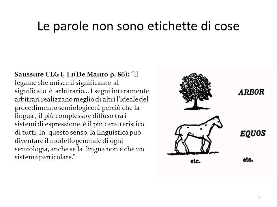 2 Le parole non sono etichette di cose Saussure CLG I, I 1(De Mauro p. 86): Il legame che unisce il significante al significato è arbitrario… I segni